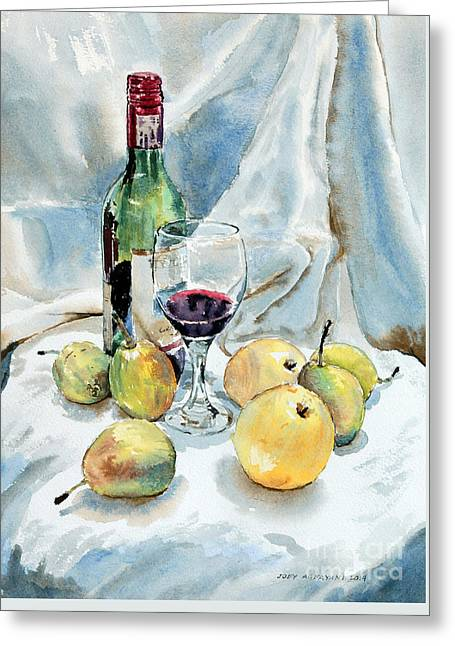 Fruit And Wine Greeting Cards - Pears and Wine Greeting Card by Joey Agbayani