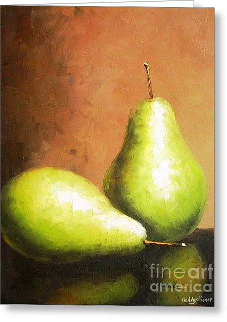 Pallet Knife Greeting Cards - Pears Greeting Card by Ashley MISNER