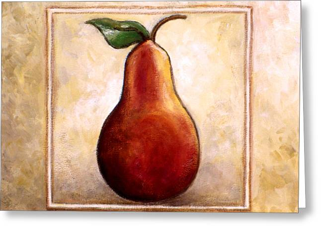 Fruit And Wine Greeting Cards - Pears Diptych part one Greeting Card by Linda Mears