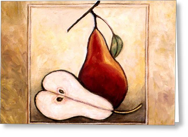 Fruit And Wine Greeting Cards - Pears Diptych part two Greeting Card by Linda Mears