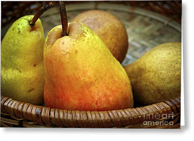 Juicy Greeting Cards - Pears in a basket Greeting Card by Elena Elisseeva