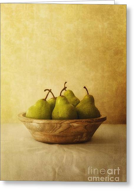 Brown Pears Greeting Cards - Pears In A Wooden Bowl Greeting Card by Priska Wettstein