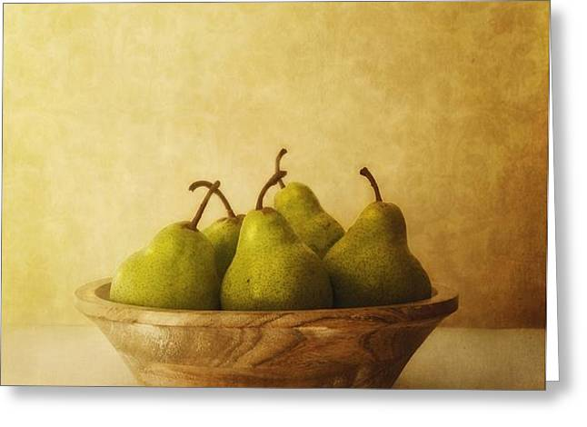 pears in a wooden bowl Greeting Card by Priska Wettstein
