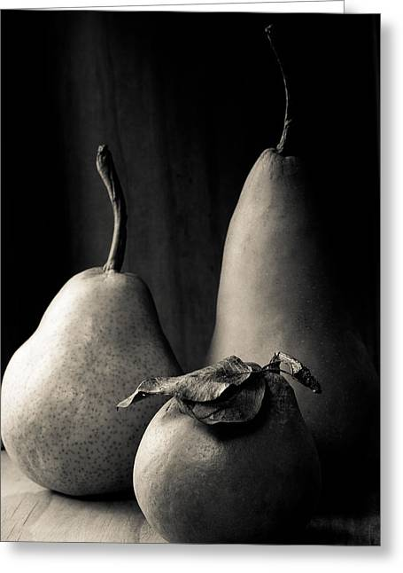 Charcoal Photographs Greeting Cards - Pears In Charcoal 2 Greeting Card by Constance Fein Harding