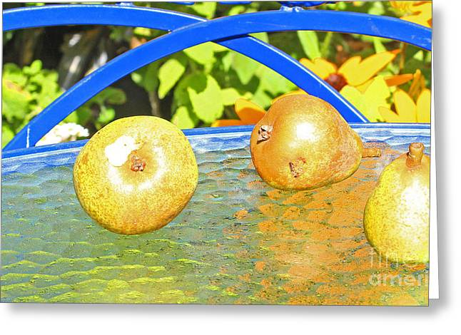 Cambria Greeting Cards - Pears in Robins Garden Greeting Card by Kris Hiemstra