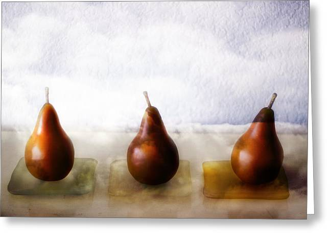 Brown Pears Greeting Cards - Pears in the Clouds Greeting Card by Carol Leigh