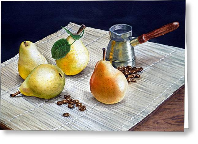Art Decor Paintings Greeting Cards - Pears Greeting Card by Irina Sztukowski