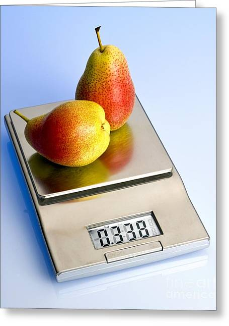 Pears On A Digital Scales Greeting Card by Martyn F. Chillmaid