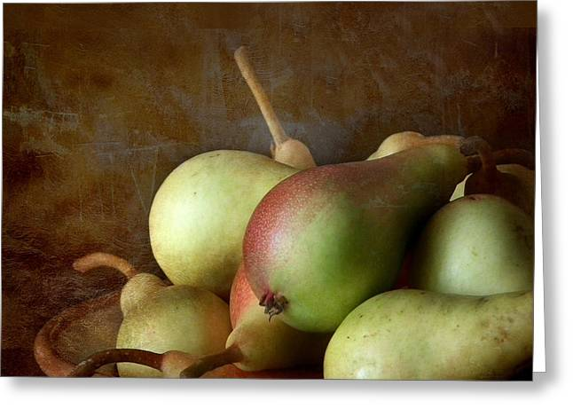 Interior Still Life Greeting Cards - Pears on a plate  Greeting Card by Artskratches