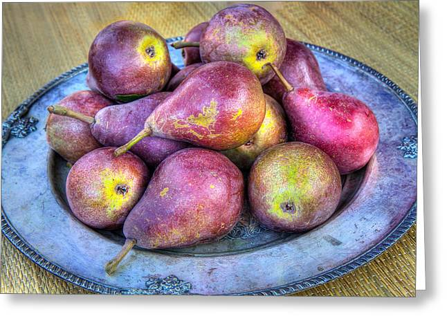 Pears On A Plate Greeting Card by Victor Marsh