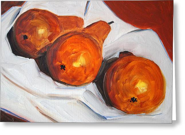 Brown Pears Greeting Cards - Pears on Cloth Greeting Card by Nancy Merkle