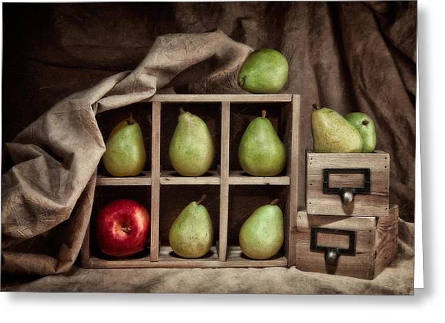 Drawer Greeting Cards - Pears on Display Still Life Greeting Card by Tom Mc Nemar