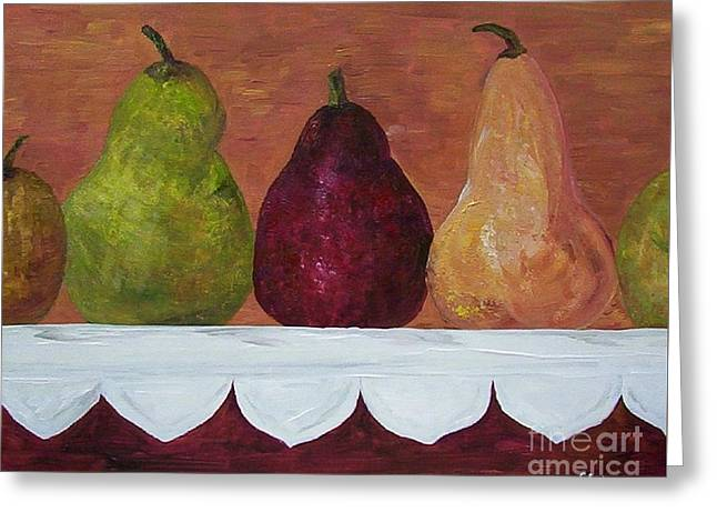 Gold Greeting Cards - Pears on Parade   Greeting Card by Eloise Schneider