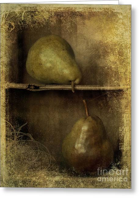 Brown Pears Greeting Cards - Pears Greeting Card by Priska Wettstein