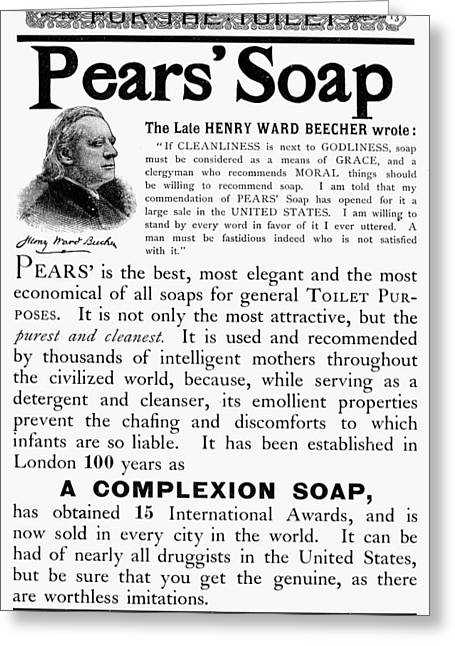 Pears' Soap Ad, 1889 Greeting Card by Granger