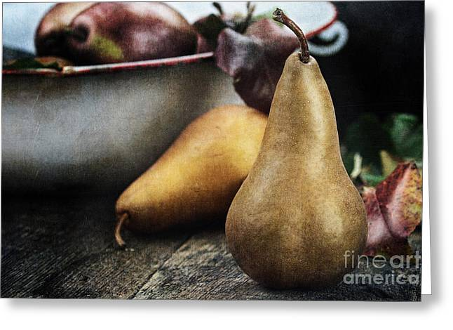Wooden Bowl Greeting Cards - Pears Greeting Card by Stephanie Frey
