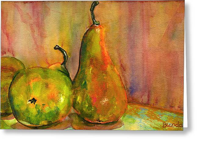 Warm Tones Greeting Cards - Pears Still Life Art  Greeting Card by Blenda Studio