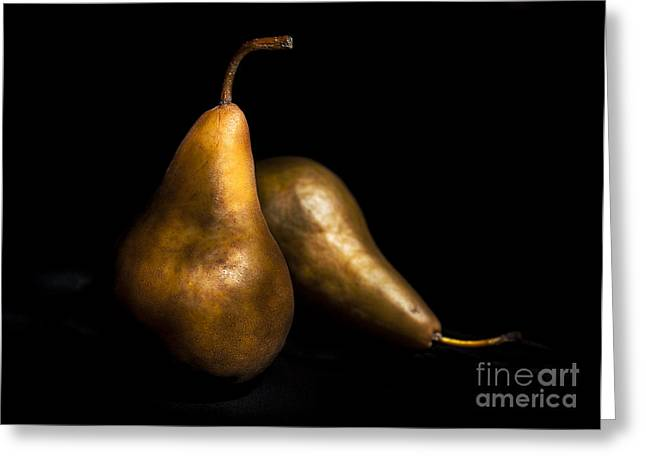 Bosc Greeting Cards - Pears Still Life by light painting Greeting Card by Vishwanath Bhat