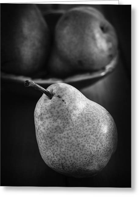 Indoor Still Life Greeting Cards - Pears still life in monochrome Greeting Card by Vishwanath Bhat