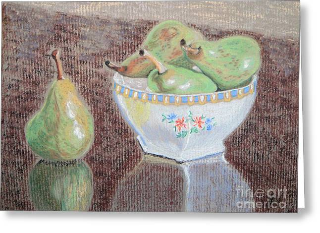 Bowl Pastels Greeting Cards - Pears Still Life Greeting Card by Yvonne Johnstone