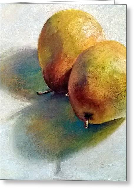 Soft Light Pastels Greeting Cards - Pears Greeting Card by Sue Gardner