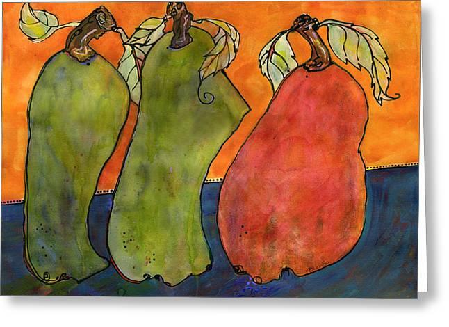 Pears Surrealism Art Greeting Card by Blenda Studio