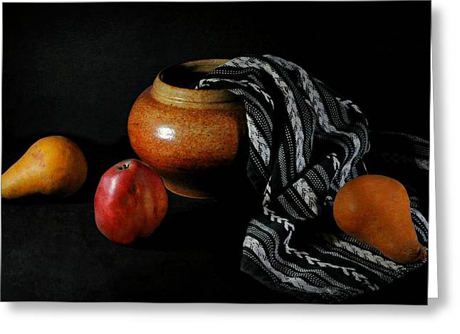 Table Cloth Greeting Cards - Pearsn Pot Greeting Card by Diana Angstadt