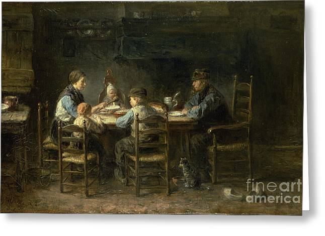 Bible; David; Goliath Greeting Cards - Peasant family at the table Greeting Card by Jozef Israels