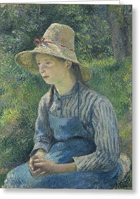 Camille Pissarro Digital Greeting Cards - Peasant Girl in a Straw Hat - Camille Pissarro Greeting Card by J Morgan Massey