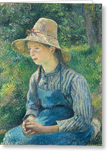 Apron Greeting Cards - Peasant Girl with a Straw Hat Greeting Card by Camille Pissarro