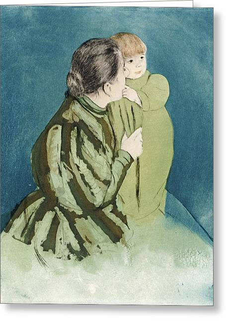 Cassatt Greeting Cards - Peasant Mother And Child Greeting Card by Celestial Images