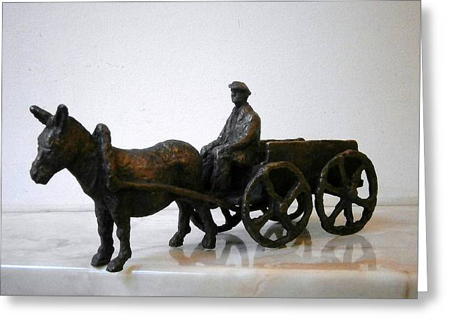 Realism Sculptures Greeting Cards - Peasant with cart Greeting Card by Nikola Litchkov
