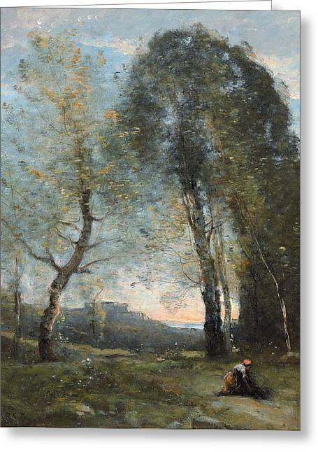 Italian Tuscan Greeting Cards - Peasant Woman Collecting Wood Greeting Card by Jean Baptiste Camille Corot