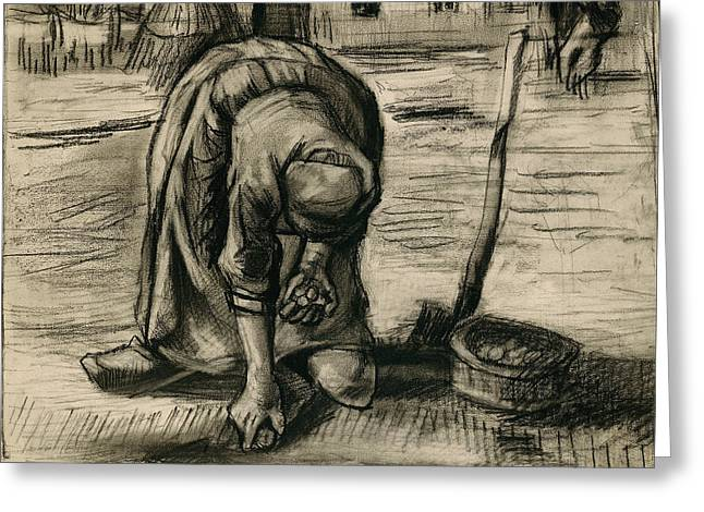 Sepia Chalk Greeting Cards - Peasant Woman Planting Potatoes Greeting Card by Vincent Van Gogh