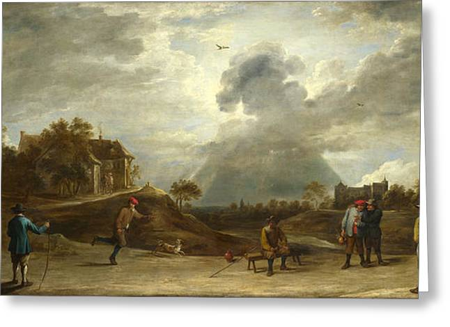 Archery Paintings Greeting Cards - Peasants at Archery Greeting Card by David Teniers the Younger