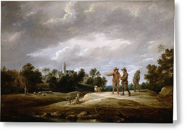 Peasants Conversing Greeting Card by David Teniers the Younger