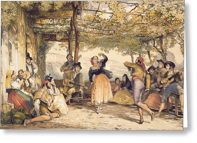 Grapevine Greeting Cards - Peasants Dancing The Bolero Greeting Card by John Frederick Lewis
