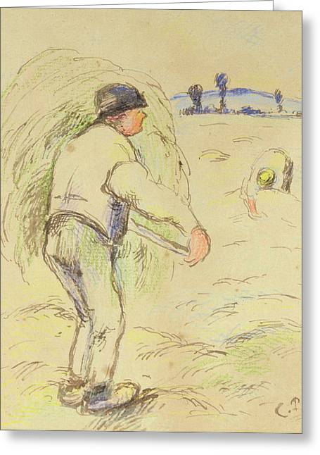 Farmer Drawings Greeting Cards - Peasants Haymaking Greeting Card by Camille Pissarro