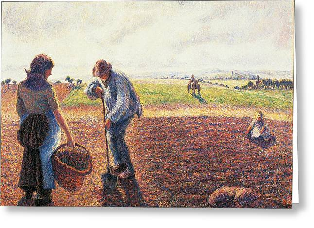 1874 Greeting Cards - Peasants in the field Eragny Greeting Card by Camille Pissarro