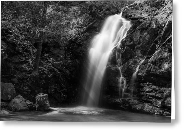 Bw Waterfalls Greeting Cards - Peavine Falls in Monochrome Greeting Card by Shelby  Young