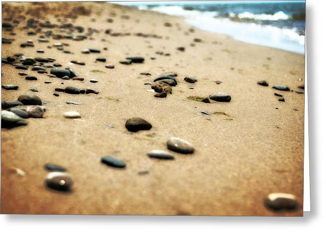 Sand Patterns Greeting Cards - Pebble and Waves Greeting Card by Michelle Calkins