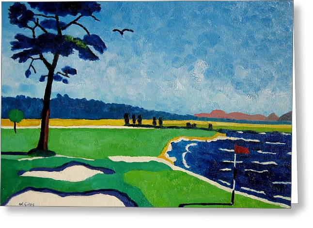 Us Open Golf Paintings Greeting Cards - Pebble Beach 18 California Greeting Card by Lesley Giles