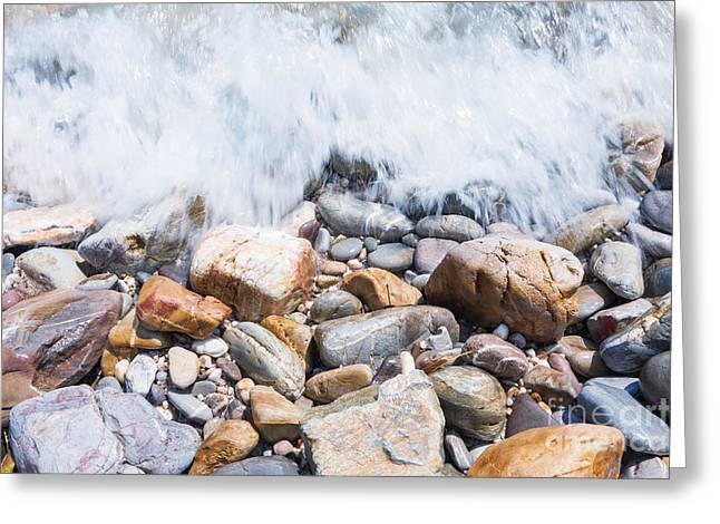 Abstract Seascape Greeting Cards - Pebble Beach Greeting Card by Atiketta Sangasaeng