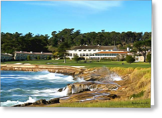 Beach Photos Paintings Greeting Cards - Pebble Beach Club House Greeting Card by Barbara Snyder