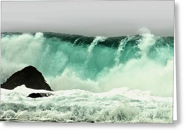 Scenes Of Pebble Beach Greeting Cards - Pebble Beach Crashing Wave Greeting Card by Artist and Photographer Laura Wrede
