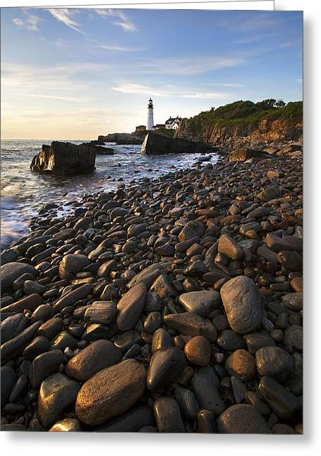 Maine Beach Greeting Cards - Pebble Beach Greeting Card by Eric Gendron