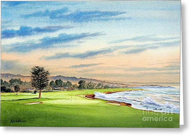 Us Open Greeting Cards - Pebble Beach Golf Course 18Th Hole Greeting Card by Bill Holkham