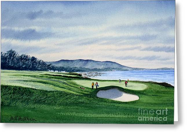 9th Hole Greeting Cards - Pebble Beach Golf Course Greeting Card by Bill Holkham