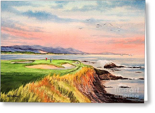 Linked Paintings Greeting Cards - Pebble Beach Golf course Hole 7 Greeting Card by Bill Holkham