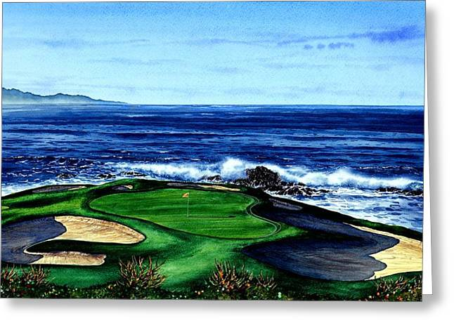 Scenes Of Pebble Beach Greeting Cards - Pebble Beach Golf Course Greeting Card by John YATO